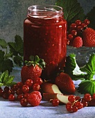 Rhubarb and Berry Jam in Glass Jar