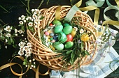 Easter wreath with coloured eggs & sugar eggs
