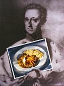 Esterhazy roast beef in front of painting of Prince Esterhazy