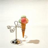 Colorful Ice Cream Cone in a Cone Holder