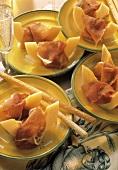 Prosciutto e melone (ham with cantaloupe melon, Italy)
