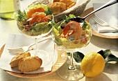 Shrimp Cocktail with Avocado and Lettuce in Stem Glasses