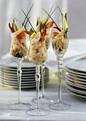 Lobster and Shrimp Appetizers in Stem Glasses