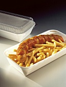 Currywurst with French Fries in 'To Go' Container