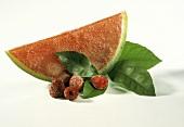Watermelon Sorbet with Fresh Raspberries