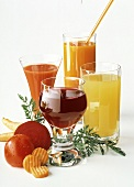 Four Different Vegetable and Fruit Juices