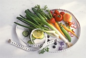 Fruit and Vegetables with a Tape Measure; Healthy Food