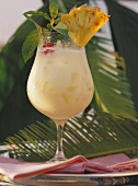 Tropical Cocktail with Pineapple Wedge