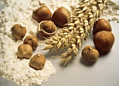 Still Life of Flour Wheat and Hazelnuts