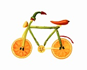 Vegetables and Fruit Forming the Shape of a Bicycle