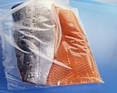 Lachsfilets in Plastikfolie verpackt