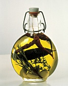 Herbed Oil in Glass Bottle