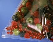 Assorted fresh berries in plastic bag