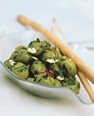 Olive ripiene (green olives stuffed with almonds, Italy)