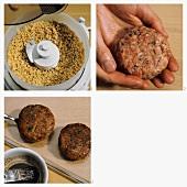 Preparing mince and peanut rissoles