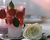 Aphrodite - champagne and rose drink in ice container