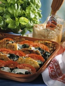 Mushroom pancake au gratin with tomatoes and spinach