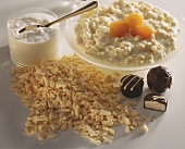 Soft cheese with dried apples and apricots; chocolates