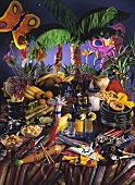 Party buffet with drinks, nuts, fruit & exotic decoration