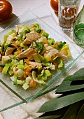 Trout and leek salad with tomatoes