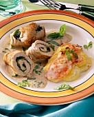 Turkey breast roulades stuffed with spinach & potato gratin