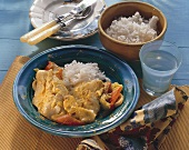 Poached red perch with curried vegetables and rice