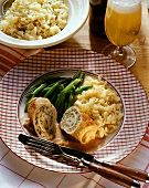 Veal roulades with herb & egg stuffing, beans & noodles