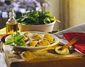 Homemade Raviolis on a Plate