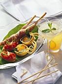 Linguine baskets, bruschetta, ham grissini & 2 drinks