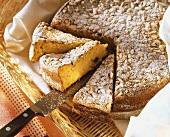 Pine nut cake with saffron and raisins