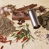 Several Assorted Spices and a Pepper Mill