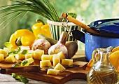 Stillleben mit Zutaten für Gemüsegerichte & Eintöpfe