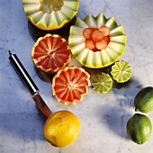 Cutting fruit halves in zigzags with special knife