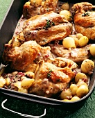 Braised rabbit with shallots and red onions