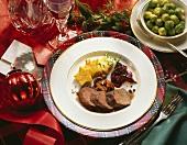 Venison with chanterelles, fig confit & polenta stars