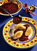 Quark & semolina dumplings with cherry sauce (for children)