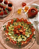 Strawberry and courgette salad with pine nuts