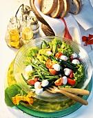 Lettuce with mozzarella, tomatoes, beans, pine nuts, raisins