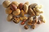 Walnuts, pecan nuts, peanuts, Brazil nuts and hazelnuts