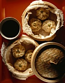 Dim Sum - Chinese pastry parcels in steaming basket