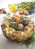 Bread wreath Easter nest filled with Easter grass & Easter eggs