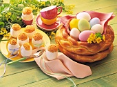 Bread nest with Easter eggs & stuffed eggs with cake mix