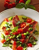 Red mullet fillets with young broad beans & tomatoes (Italy)