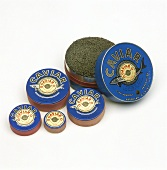 Russian black Sevruga caviar in tins