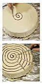Decorating white cake with brown cobweb design