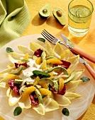Chicory salad with radicchio, avocado, oranges & dressing