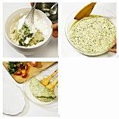 Making soufflé omelette with herbs