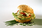 Chicken burger with chive dressing granary roll