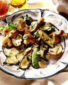 Courgette & mushroom casserole with garlic & parsley