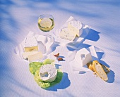 Still life with soft cheese, Camembert, blue cheese, ricotta